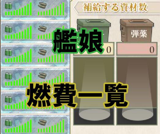 【艦これ】艦娘の燃費一覧(2018年4月版)