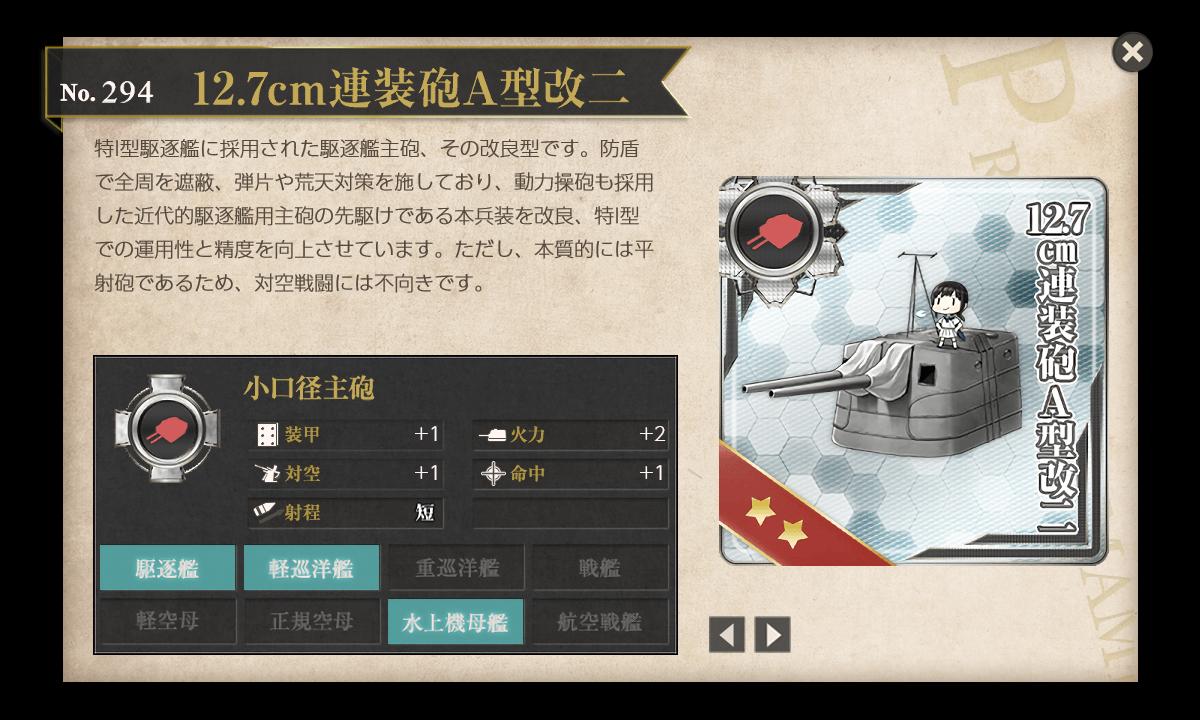 【艦これ】12.7cm連装砲A型改二の入手方法と消費先の任務